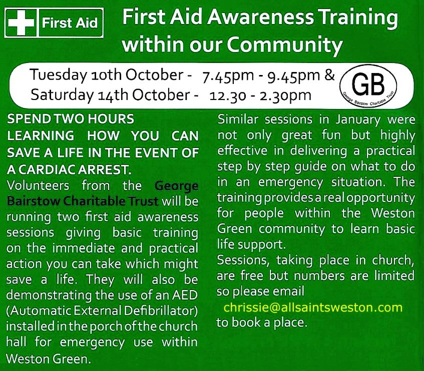 First Aid training - All Saints Weston Green