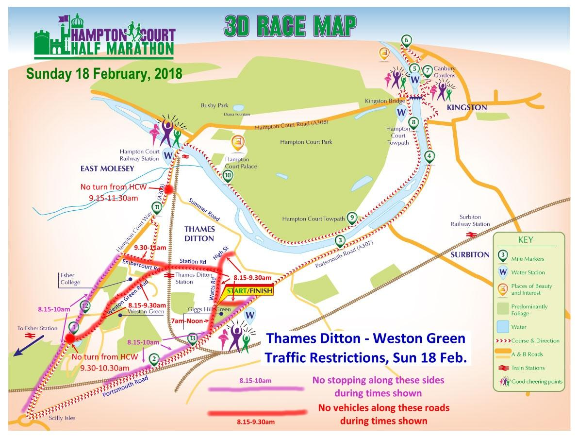 Hampton Court Half 2018 traffic map