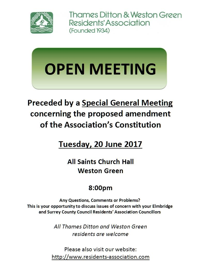 Open Special Meeting notice June 2017