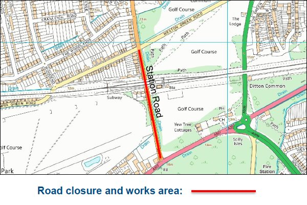 Station Road, Esher closing for roadworks