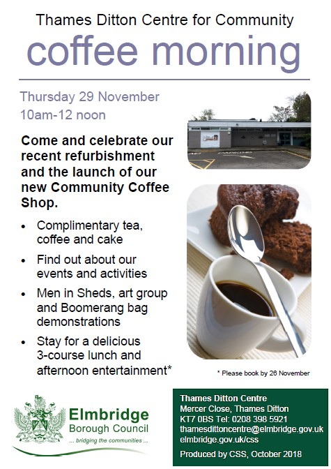 TD Centre Coffee Morning - Thur. 29 Nov.